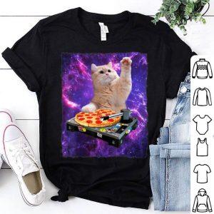 Dj Cat Cat Dj Pizza Edm Music Cute White Kitty shirt