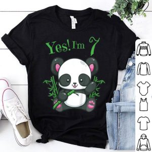 Kids Panda 7th Birthday Girls Birthday Outfit Age 7 shirt
