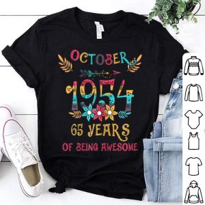 October 1954 Floral 65 Years Of Being Awesome shirt