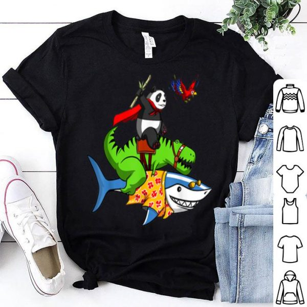 Panda Bear And T-rex Dinosaur Riding Shark Funny Animals shirt