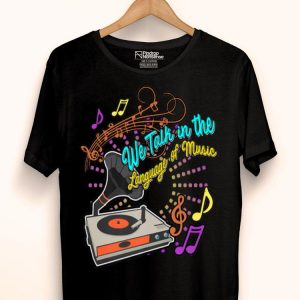 Retro Lp Vinyl Record Turntable Player Music Lover Dj Language shirt
