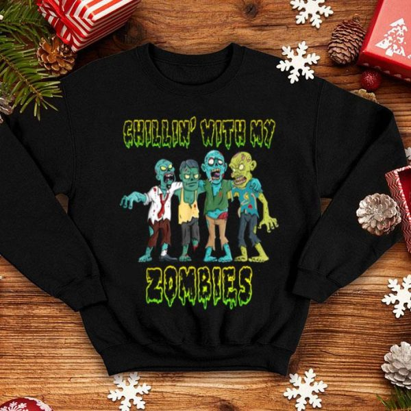 Awesome Chillin With My Zombies Halloween Boys Kids Funny shirt