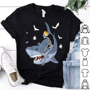 Awesome Halloween Skeleton Riding Shark Boys Girls Kids shirt