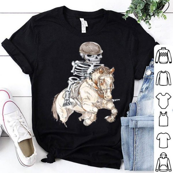 Awesome Skeleton Horse Racing Equestrian Halloween shirt