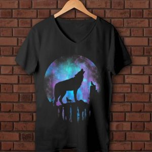 Nice Howling Wolf Galaxy Moon shirt