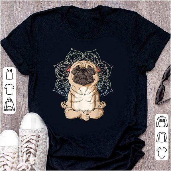Nice Pug Yoga Spiritual Meditation Mandala Let It Be shirt