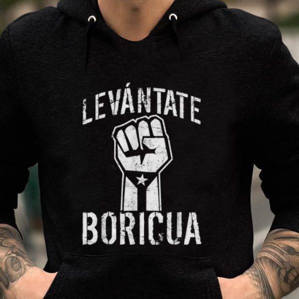 Nice The Fist Levantate Boricua Puerto Rico Flag Ricky Renuncia Bandera Negra shirt