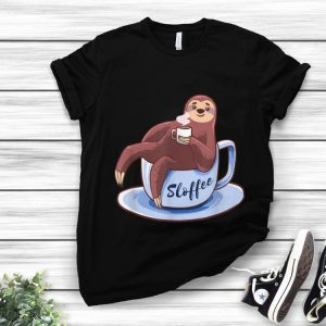 Official Sloffee Sloth Lying On A Cup Of Coffee Sloffee Meme shirt