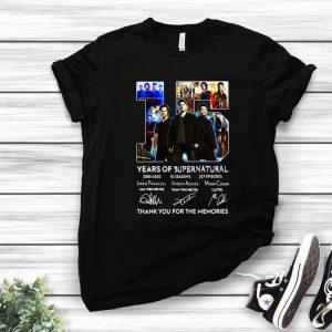Premium 15 Years Of Supernatural Thank For The Memories Signature shirt
