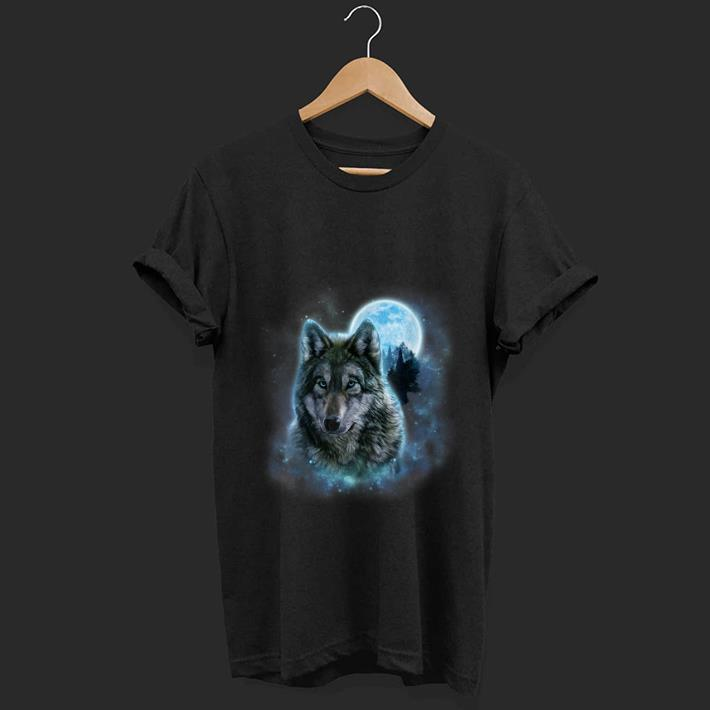 Pretty Grey Wolf Hunting Ground Icy Moon Forest Galaxy shirt 1 - Pretty Grey Wolf Hunting Ground Icy Moon Forest Galaxy shirt