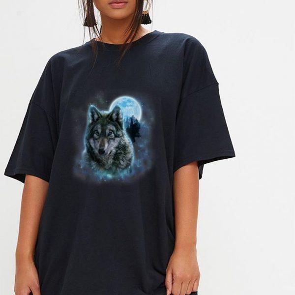 Pretty Grey Wolf Hunting Ground Icy Moon Forest Galaxy shirt