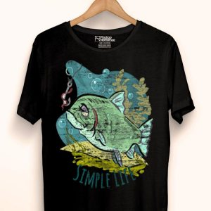 Simple Life Distressed Fish And Worm Fishing shirt