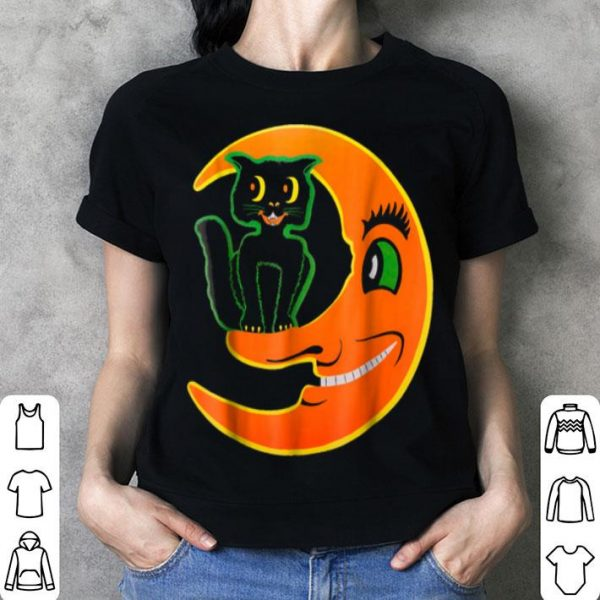 Awesome Vintage Halloween Beistle Cat On The Moon Horror Gift shirt