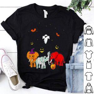 Funny Elephant Tee has Devil, Mummy with Pumpkin in Halloween Gift shirt