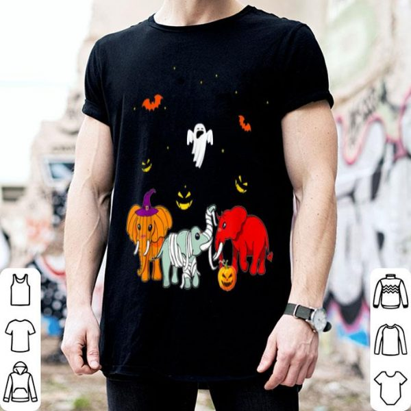 Funny Elephant Tee has Devil, Mummy with Pumpkin in Halloween Gift shirt