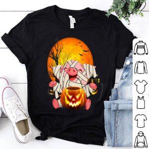 Funny Mummy Pig Moon Pumpkin Halloween Horror Scary Funny shirt