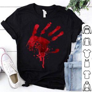 Happy Halloween Bloody Hand Print Costume - Gag Gift shirt