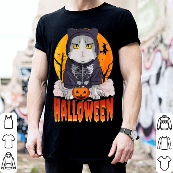 Nice Halloween Cat Skeleton Pumpkin Witch shirt