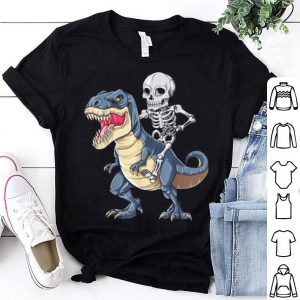 Skeleton Riding Dinosaur T Rex Halloween Kids Boys shirt