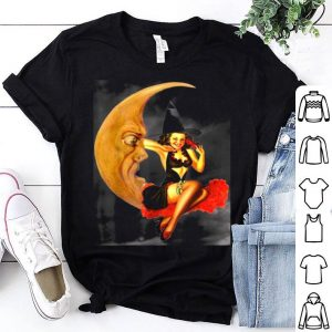 Top Vintage Pin Up Girl Witch On Moon Halloween shirt