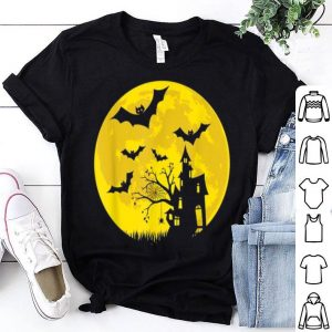 Awesome House in night Halloween bats, ghost, moon shirt