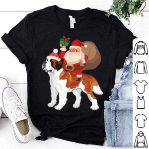 Awesome Santa Riding St Bernard Christmas Pajama Gift shirt