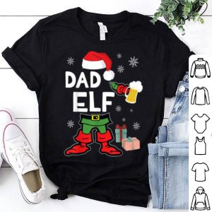 Funny Elf Drinking Beer Around Snow Xmas Presents Dad Elf shirt
