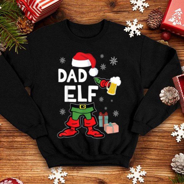 Funny Elf Drinking Beer Around Snow Xmas Presents Dad Elf shirt