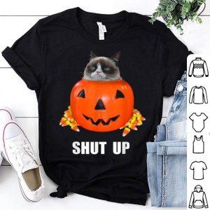 Hot Grumpy Cat Halloween Shut Up Pumpkin Candy Corn shirt