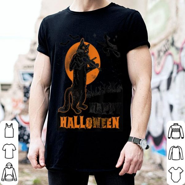 Nice Pumpkins Halloween Cat Playing Violin shirt