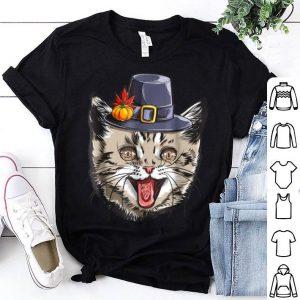 Nice Thanksgiving for boys kids Men Cat Pilgrim Costume shirt