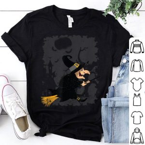 Premium Halloween Creepy Witch broom flying Gift Birthday shirt