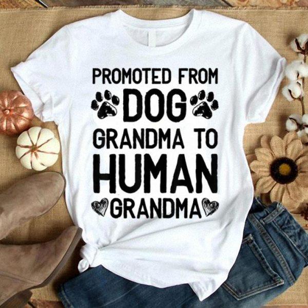 Premium Promoted From Dog grandma To Human grandma shirt