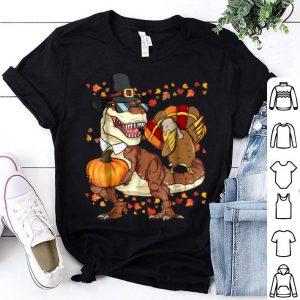 Pretty Thanksgiving T-Rex Dinosaur Dabbing Turkey Boy shirt