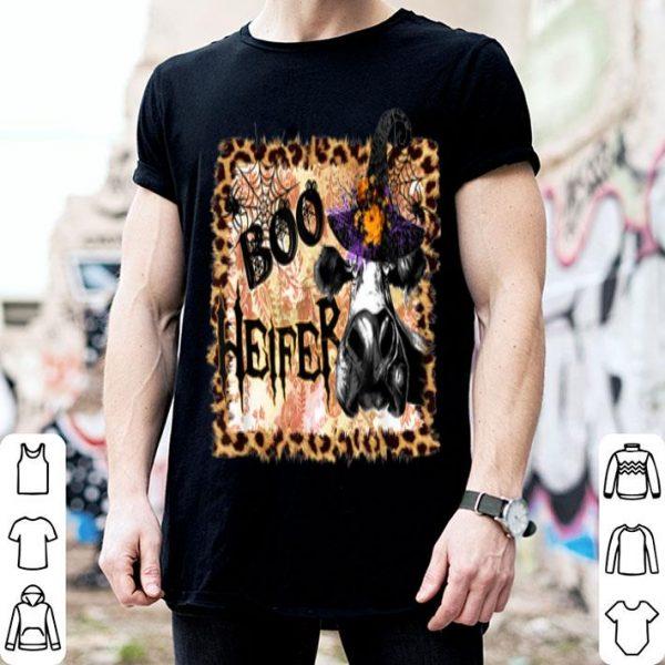 Top Boo heifer Cute Leopard cow witch fashion Halloween shirt