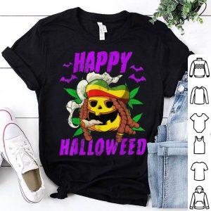 Top Halloween Happy Halloweed Rasta Pumpkin Marijuana Weed 420 shirt