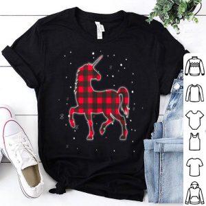 Top Red Plaid Unicorn Christmas Matching Buffalo Family Pajama shirt