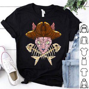 Top Sphynx Pirate Jolly Roger Crossbones Cat Skull Halloween shirt