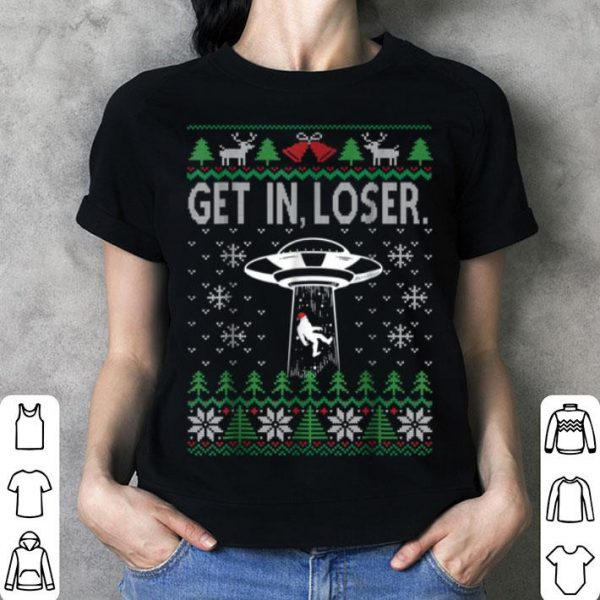 Awesome Bigfoot Alien Abduction Ugly Christmas UFO shirt