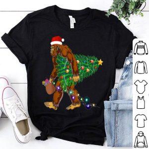 Awesome Bigfoot Carrying Christmas Tree Sasquatch Santa Gift sweater