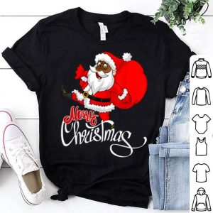 Awesome Cute Black Merry Christmas Santa shirt