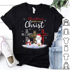 Awesome Poodle Dog Christmas Begins With Christ Xmas Gifts sweater