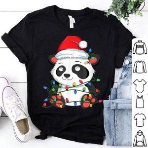 Beautiful Panda Christmas Tree Light Santa Xmas Kids Boy Girl Pajamas shirt