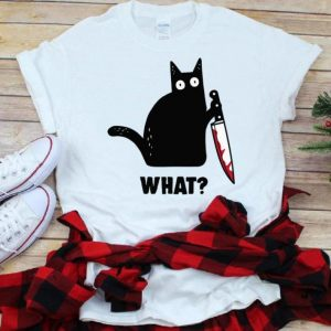 Hot Cat What Murderous Black Cat With Knife shirt