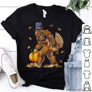 Hot Thanksgiving for boys Bigfoot Pilgrim Turkey Pumpkin shirt