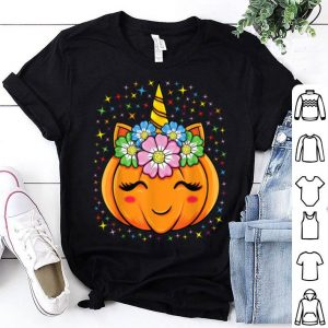 Hot Unicorn Pumpkin Halloween Cute Thanksgiving Girls Party Gift shirt