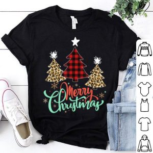 Hot Women Leopard Plaid Christmas Tree Merry Christmas shirt