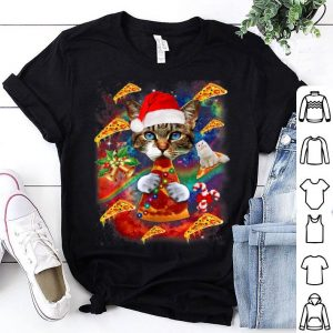 Nice Santa Cat Riding Pizza Christmas Galaxy Gift Cat Lover shirt