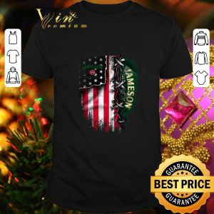 Original Jameson Irish Whiskey inside American flag shirt