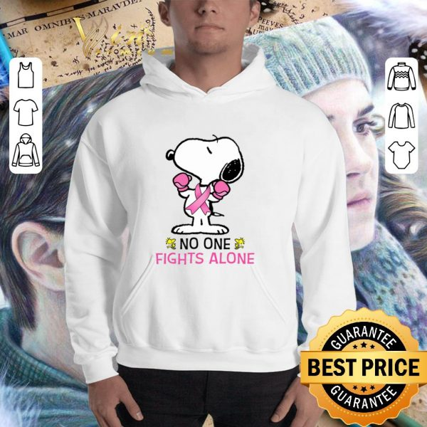 Original Snoopy no one fights alone Breast Cancer Awareness shirt